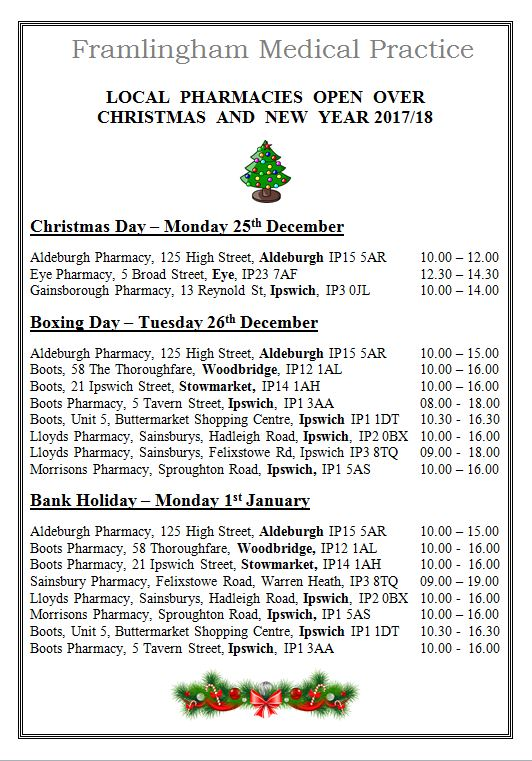Pharmacies open over Christmas and New Year 2017